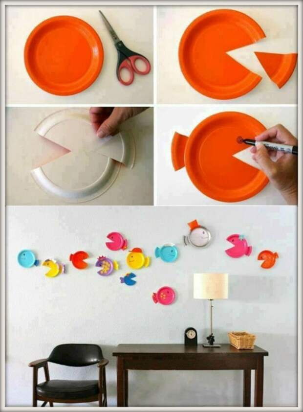 Рыбки из одноразовых тарелок.