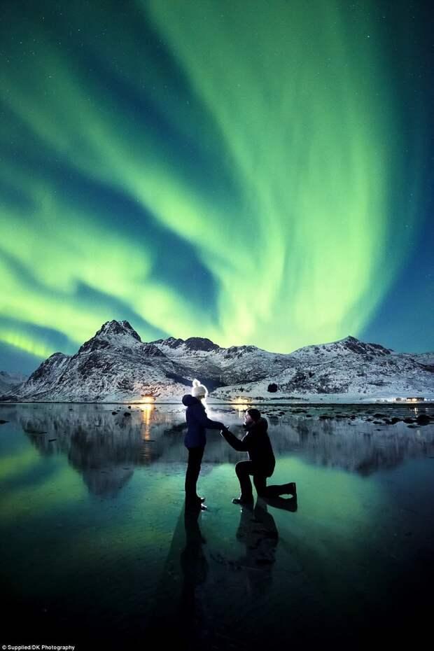 Влюбленные совершили более 30 поездок за Северный полярный круг пара, предложение, северное сияние