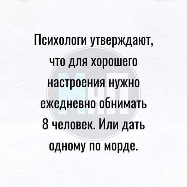 Возможно, это изображение (один или несколько человек и текст «психологи утверждают, что для хорошего настроения нужно ежедневно обнимать 8 человек. или дать одному по морде.»)