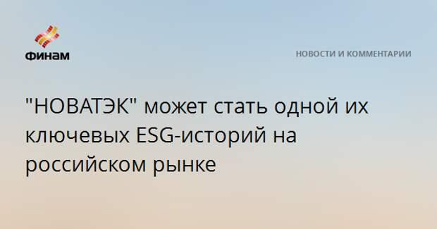 """""""НОВАТЭК"""" может стать одной их ключевых ESG-историй на российском рынке"""