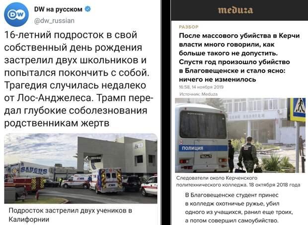 Антироссийская работа СМИ. Массовое убийство в США - трагедия. В России - бездействие властей