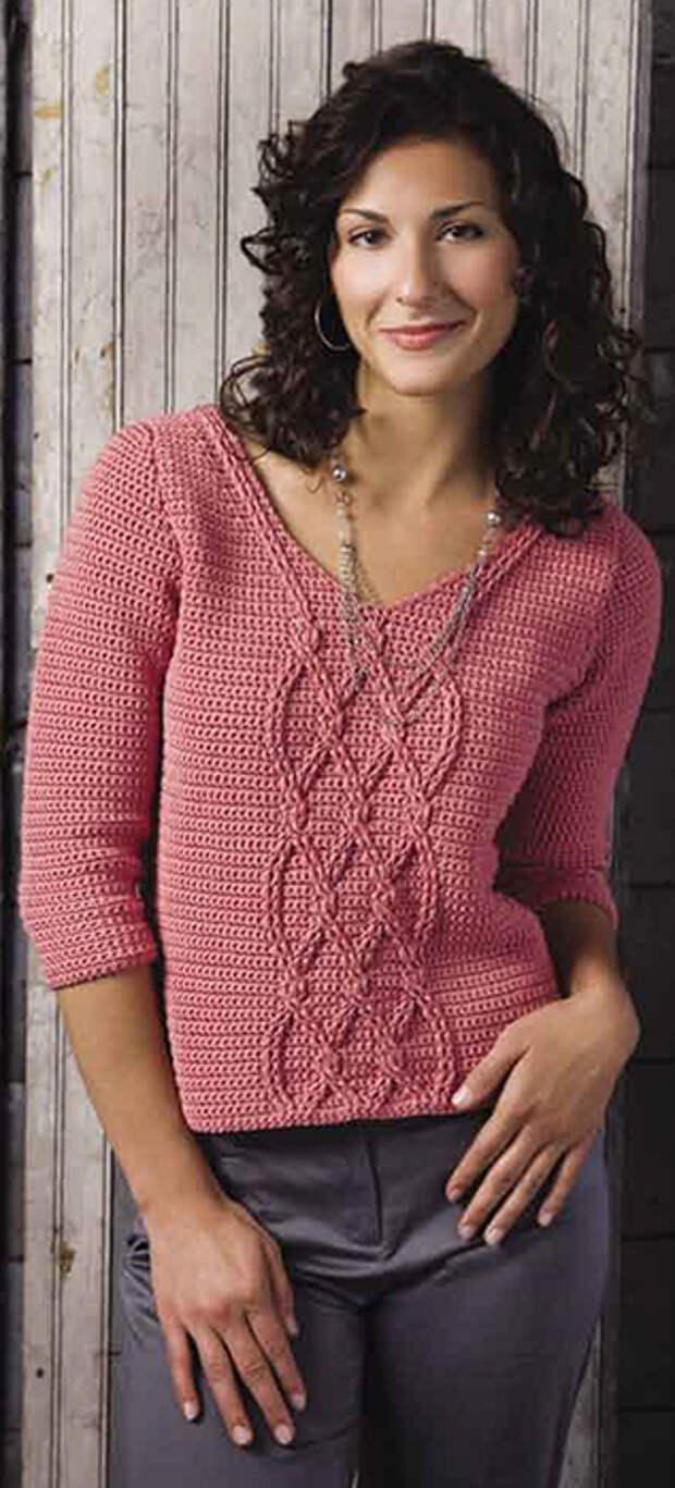 Пуловер крючком с косами