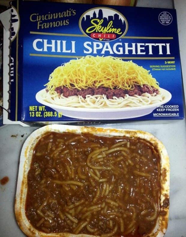 Не очень похоже на картинку на упаковке еда, кругом обман, продукты