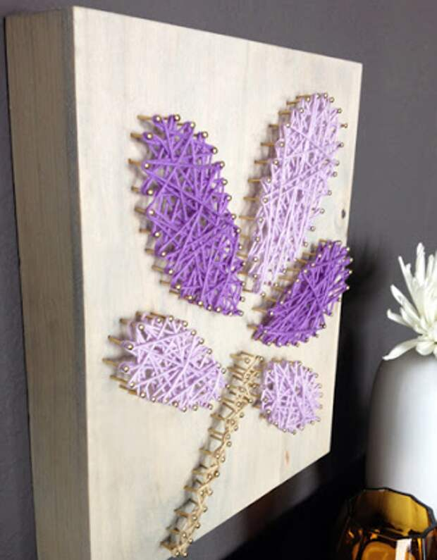 Как сделать своими руками декоративную картину из гвоздей и пряжи