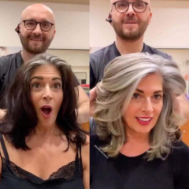 Парикмахер поделился 10 эффектными примерами, когда женщины решались на седые волосы