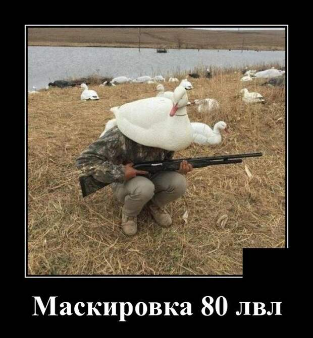 Демотиватор про маскировку на охоте