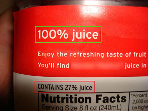 100-процентный сок, оказывается, содержит только 27% сока еда, кругом обман, продукты
