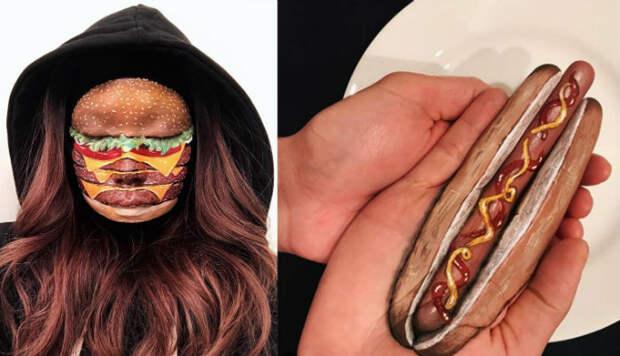 «Я тебе сейчас лицо обглодаю»: канадская визажистка рисует на женских лицах бургеры, роллы ипиццу