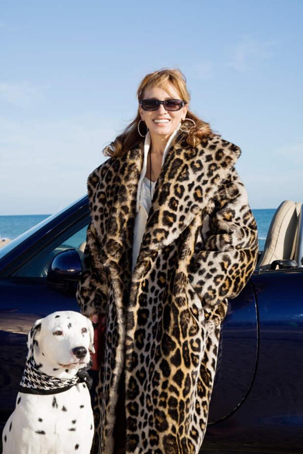Леопардовое пальто кокон