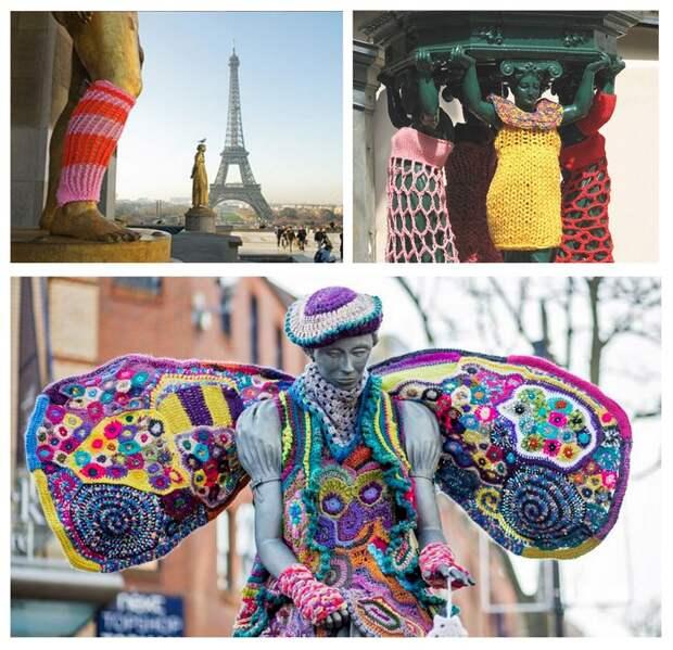 Уличное вязание Ярнбомбинг (yarn bombing) - основа городского уюта