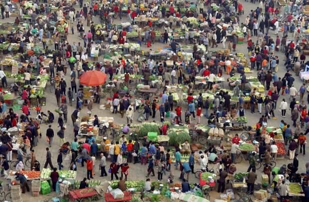 Люди покупают овощи на утренней ярмарке в Пекине. китай, люди, население
