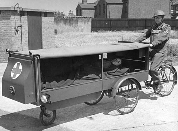 Для транспортировки раненого была спроектирована и изготовлена эта модель, которая использовалась в ополчении, 1941 год авто, мото, ретро