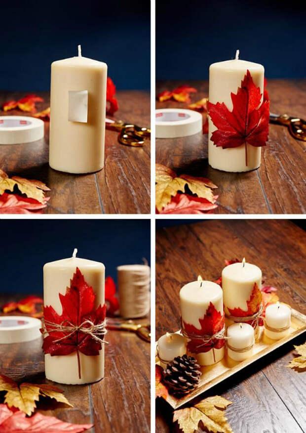 Декор свечей своими руками.