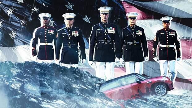 Морские пехотинцы вызволили тонущую машину и спасли водительницу в США