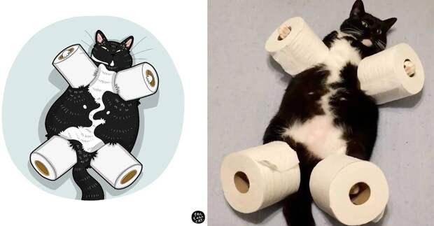 Художница рисует пародии на кошек-звёзд интернета