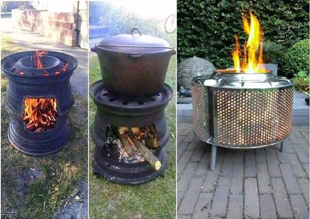 Как использовать обычные диски или барабан старой стиральной машинки для создания печи-мангала.