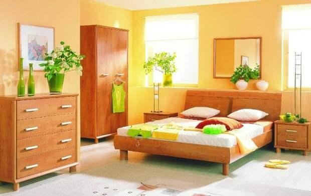 Ярко-персиковый цвет в интерьере спальни фото