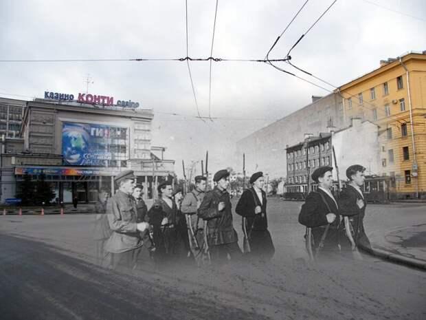 Ленинград 1941-2009 Выборгская сторона. Ополченцы на площади Калинина блокада, ленинград, победа