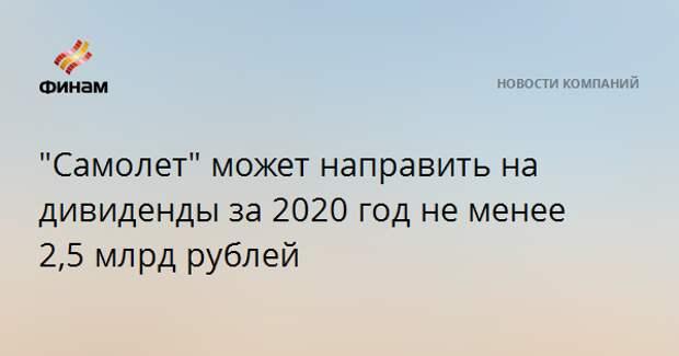 """""""Самолет"""" может направить на дивиденды за 2020 год не менее 2,5 млрд рублей"""