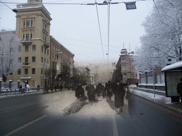Ленинград 1942-2010 Московский проспект у сада Олимпия блокада, ленинград, победа