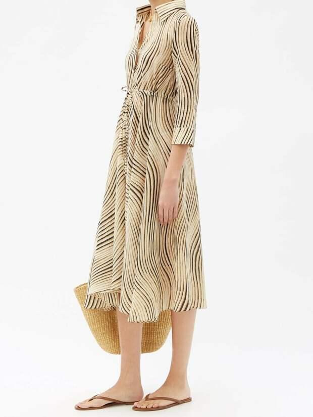 Le Sirenuse, хлопковое платье-рубашка миди с принтом ветра Positano Lucy
