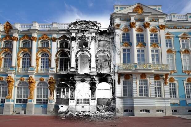 Пушкин 1942-2011 Екатерининский дворец после пожара блокада, ленинград, победа