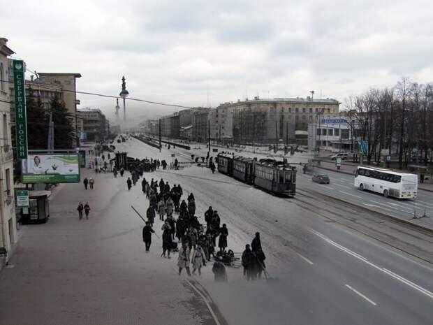 Ленинград 1944-2009 Московский 129. Войска продвигаются к передовой блокада, ленинград, победа