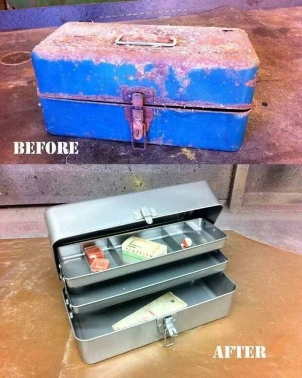 Реставрация ящика для рыболовных снастей было стало, вещи, очумелые ручки, реставрация, своими руками