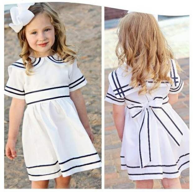 Выкройка детского платья в морском стиле