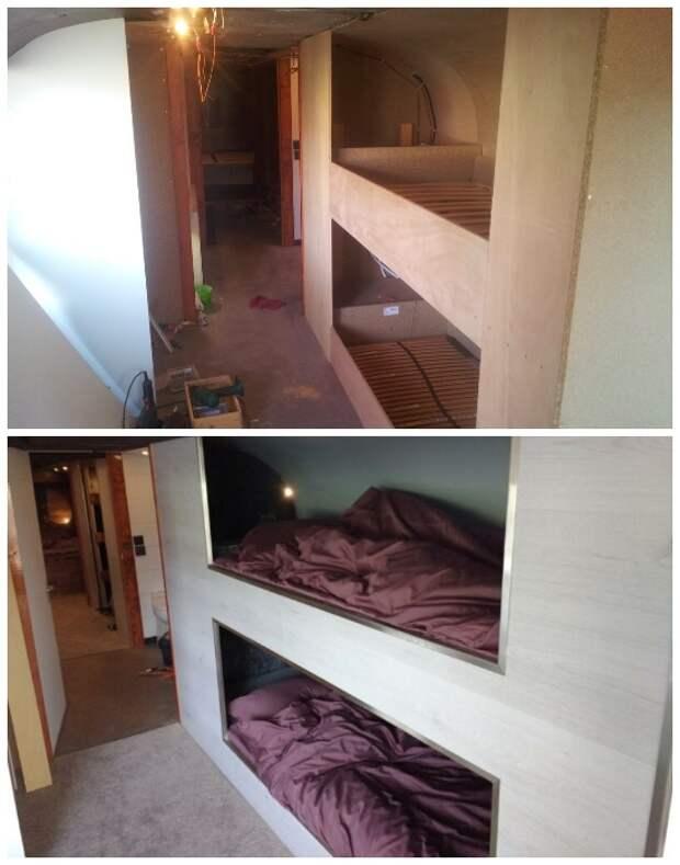 Двухъярусная встроенная кровать в детской зоне сделана собственноручно автором проекта. | Фото: photos.google.com.