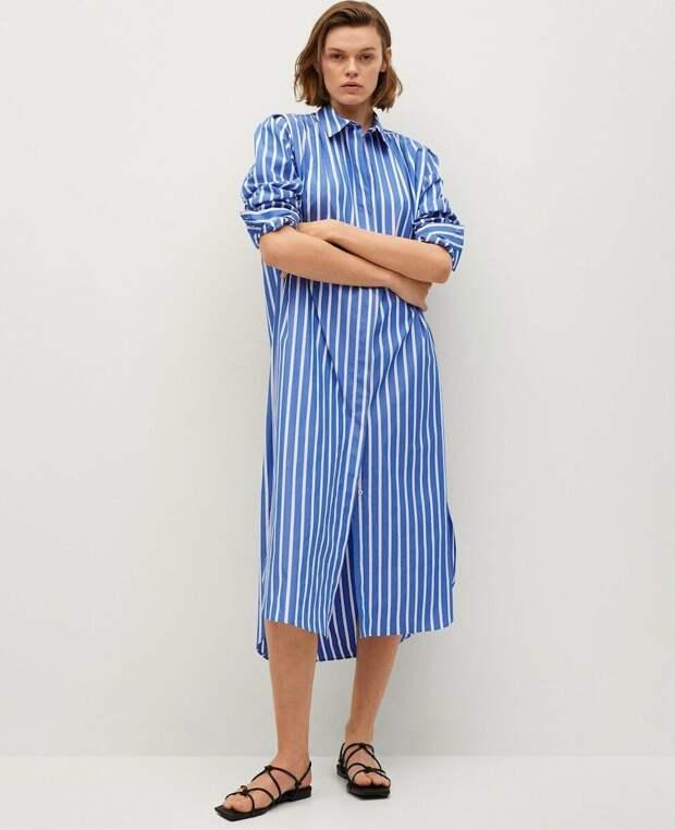 Платье-рубашка из хлопка Mango