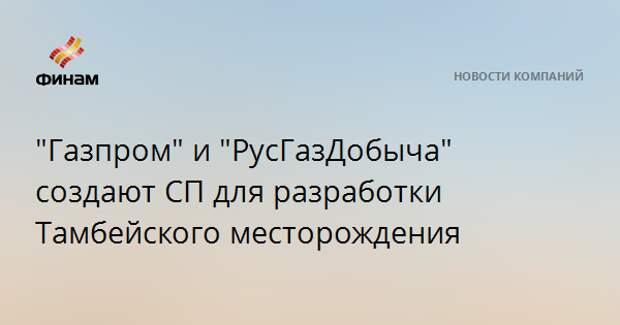 """""""Газпром"""" и """"РусГазДобыча"""" создают СП для разработки Тамбейского месторождения"""