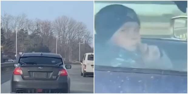 Жителей Владивостока удивил «ребенок» за рулем Subaru
