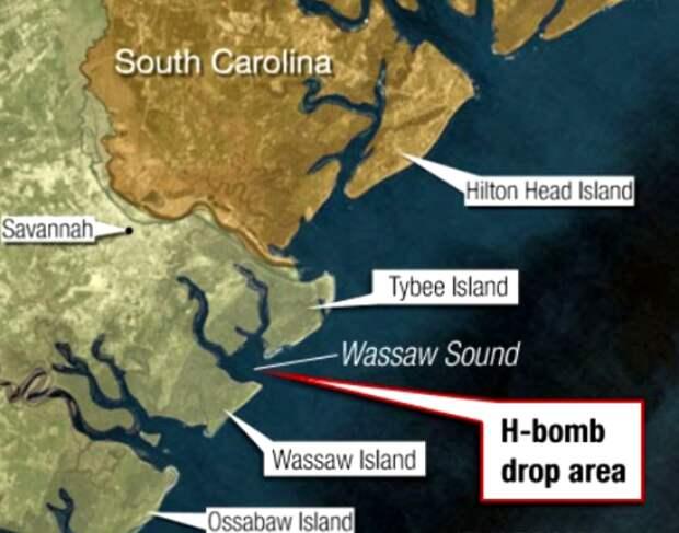 Возможное расположение падения водородной бомбы. /Фото: pikabu.ru