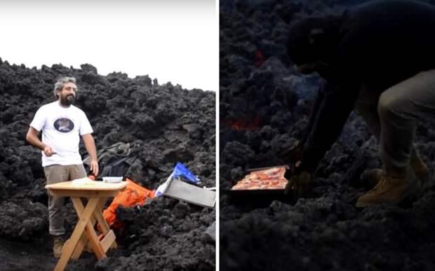 Житель Гватемалы продает туристам уникальную пиццу: она испечена на лаве