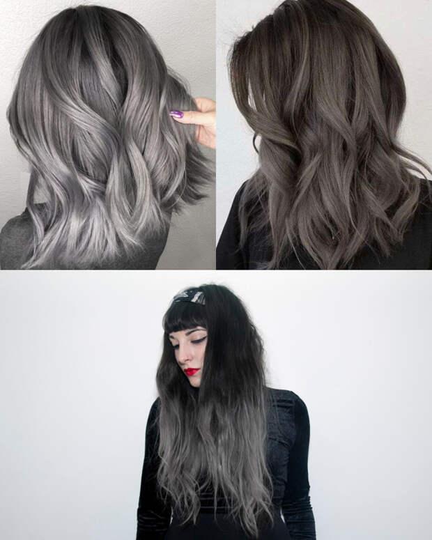 пепельное омбре на темные волосы