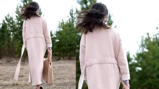 Готовимся к осени: красивое пальто без выкройки из 3 прямоугольников