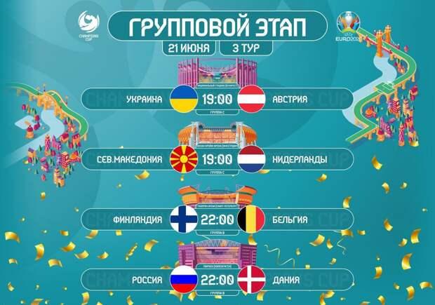 Евро-2020. День 11-й. Россия и Украина решат свою судьбу на чемпионате Европы