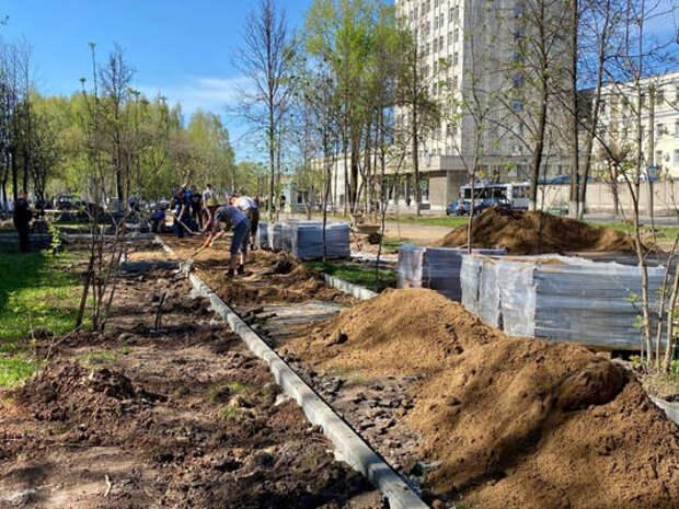 Аллею на Октябрьском проспекте обещают благоустроить к концу июля (фото, видео)
