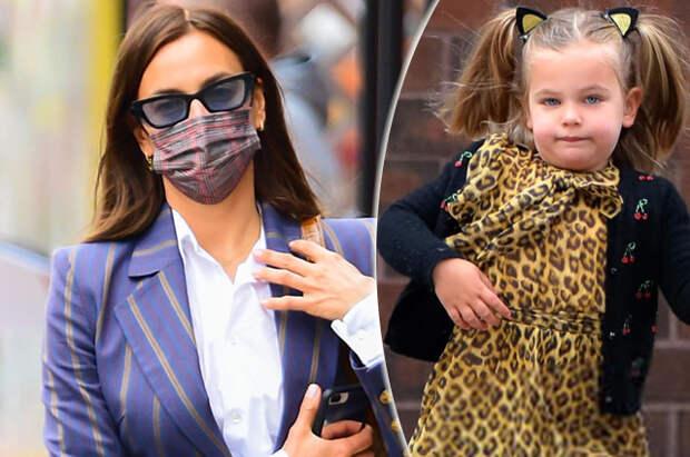 Костюм в полоску и леопардовое платье: новый модный выход Ирины Шейк с дочерью Леей в Нью-Йорке