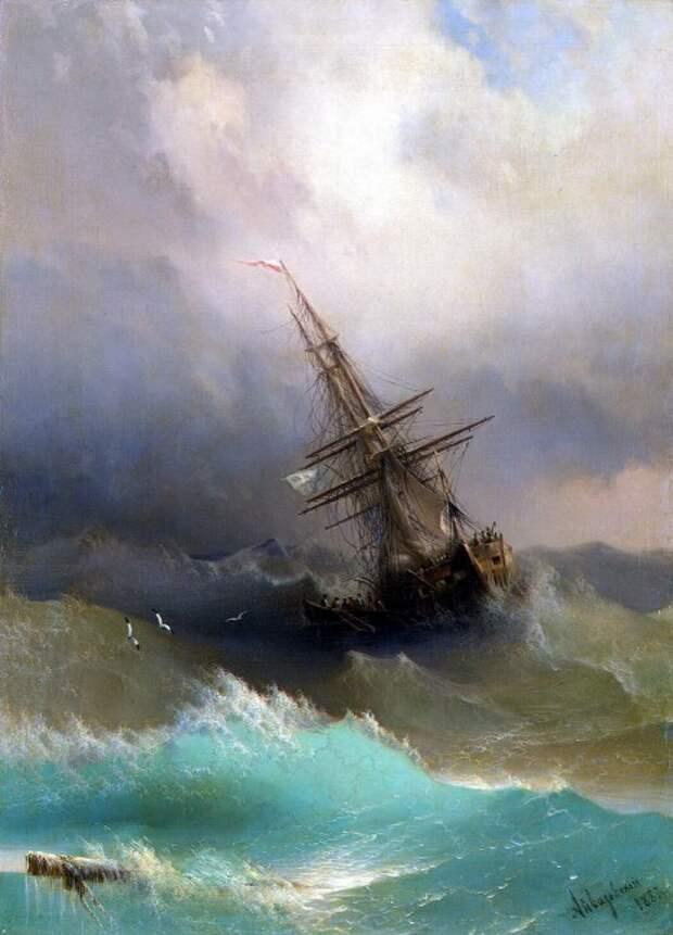 Корабль среди бурного моря, Айвазовский, 1887.jpg