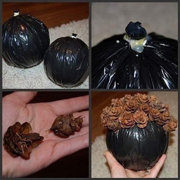 Готовимся к Новому Году - декоративный шар из шишек