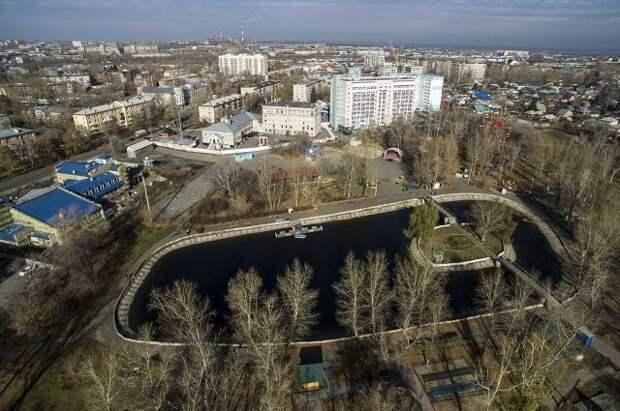 Изумрудный парк в Барнауле с высоты птичьего полёта