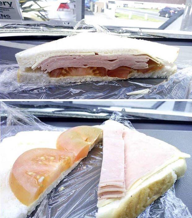 Главное - сделать вид, что в сэндвиче много ветчины еда, кругом обман, продукты