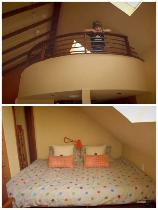 На втором ярусе удалось организовать полноценную спальню. | Фото: youtube.com.