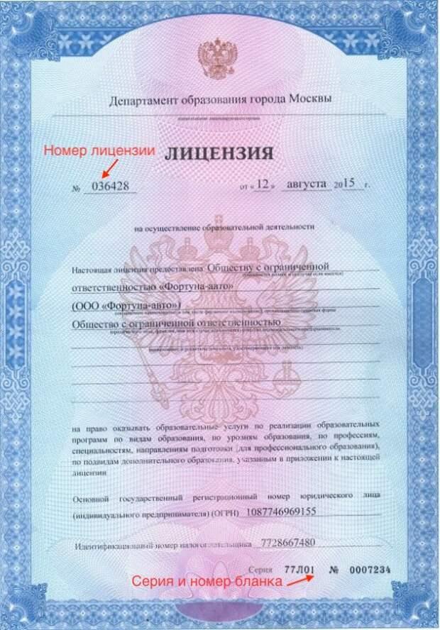 Лицензия автошколы Фортуна авто