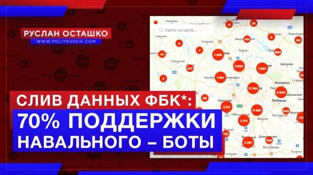 Слив данных ФБК* показал, что 70% «поддерживающих Навального» – боты