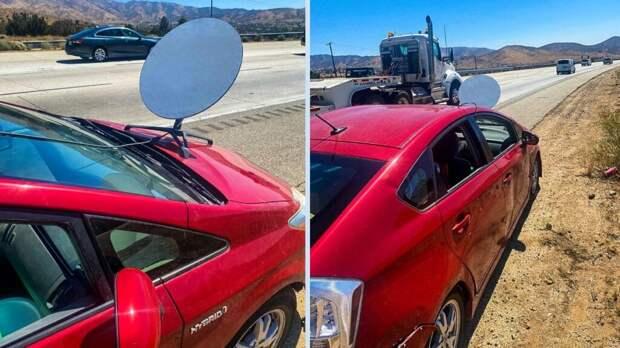 Водителя Toyota оштрафовали за спутниковую «тарелку» на капоте машины