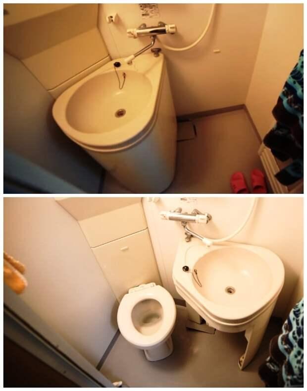 Благодаря выдвижной системе унитаз можно спрятать за рукомойником. | Фото: youtube.com.