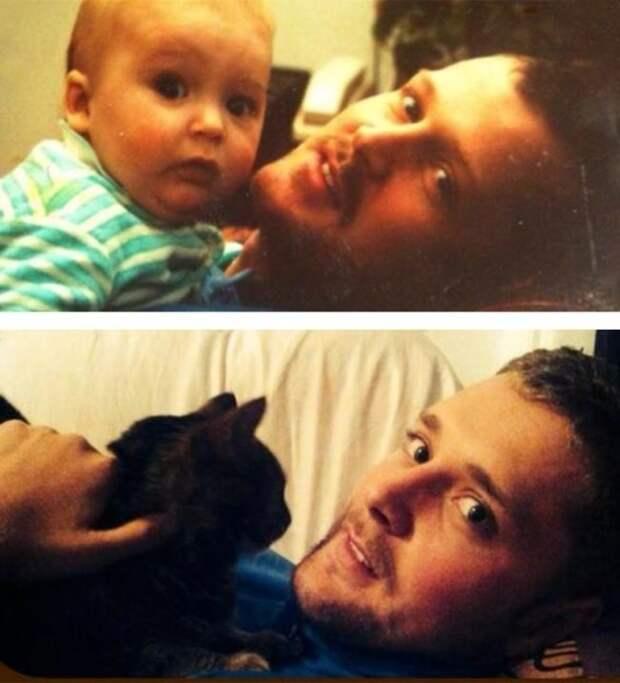 11. Отец и сын / сын и.. кот дети, неожиданно, подборка, родители, семья, сравнение, тогда и сейчас, фото